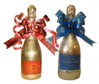 Chocolate Bottle of champagne 250g with bow